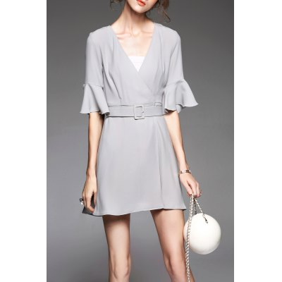 V Neck Bell Sleeve Belted Dress