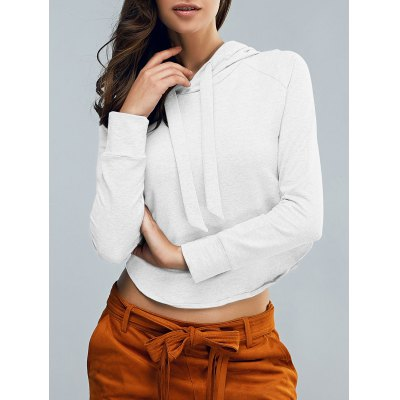 Fashion Hooded Long Sleeve Cropped Pullover Hoodie For Women