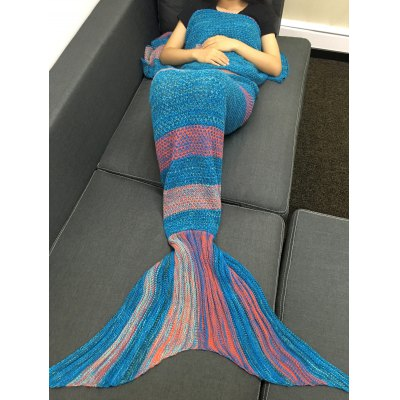 Crochet Stripe Pattern Mermaid Tail Shape BlanketBedding<br>Crochet Stripe Pattern Mermaid Tail Shape Blanket<br><br>Material: Acrylic<br>Package Contents: 1 x Blanket<br>Pattern Type: Stripe<br>Size(L*W)(CM): 200*90CM<br>Type: Knitted<br>Weight: 1.080kg