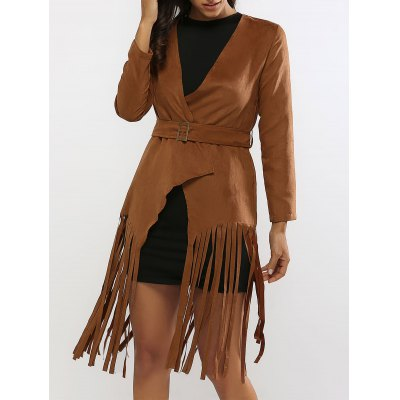 Fringed Belted Faux Suede Wrap Coat