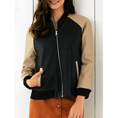 Long Sleeve Stand Collar PU Splicing Jacket