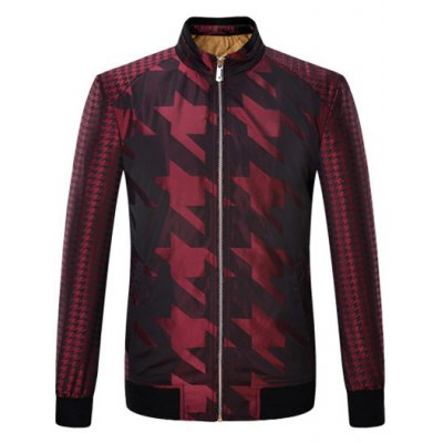 Houndstooth Pattern Zip Up Padded Jacket