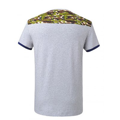 V-Neck Short Sleeve Camo Spliced T-Shirt ODM Designer