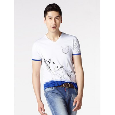 Floral Painting V-Neck Short Sleeve T-Shirt ODM Designer