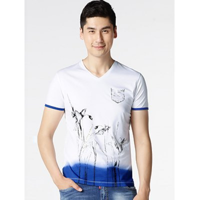Floral Painting Short Sleeve T-Shirt