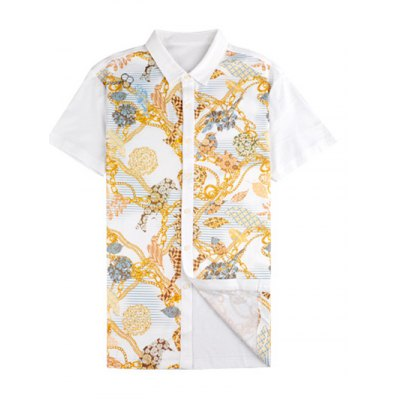 Chains Print Turn-down Collar Short Sleeve Shirt ODM Designer