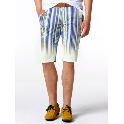 Striped Knee Length Shorts