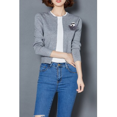 Short Open Front Cardigan With Breastpin