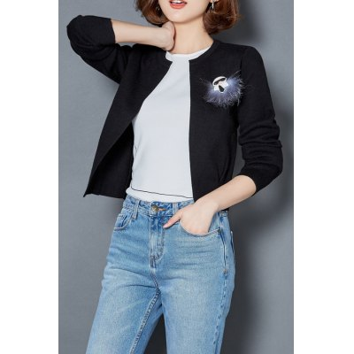 Open Front Short Cardigan With Breastpin