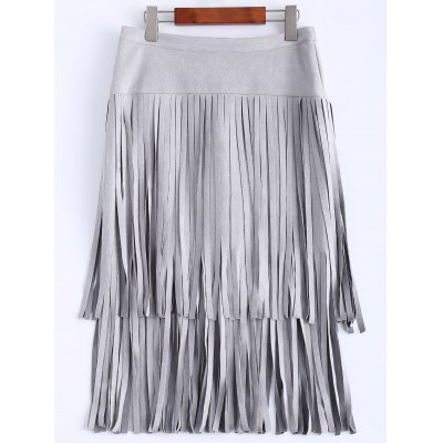 High Waisted Faux Suede Tassels Skirt
