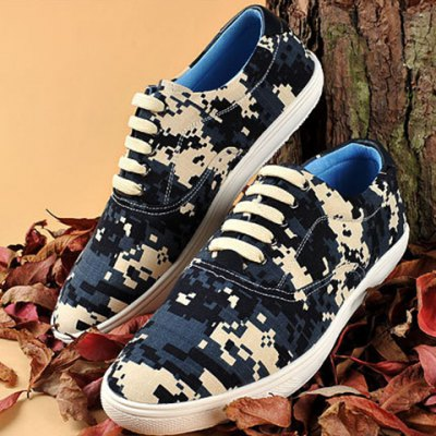 Camo Pixel Print Lace-Up Casual Shoes ODM Designer