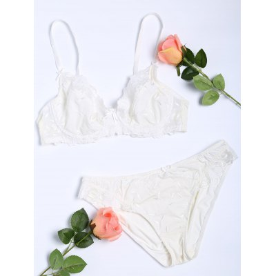 Floral Embroidered Push Up Bra Set