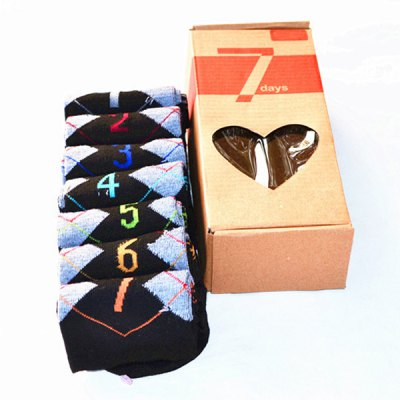 7 Pairs of Number and Argyle Pattern Socks