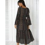 Tribal Print Bell Sleeve Maxi Flowy Dress for sale