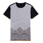 Printed Pinstriped Spliced Round Neck Short Sleeve T-Shirt ODM Designer for sale
