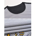 Printed Pinstriped Spliced Round Neck Short Sleeve T-Shirt ODM Designer photo