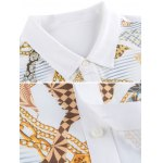 Chains Print Turn-down Collar Short Sleeve Shirt ODM Designer for sale