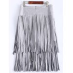 Stylish High Waisted Faux Suede Tassels Women's Skirt for sale