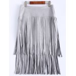 Stylish High Waisted Faux Suede Tassels Women's Skirt