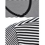 Printed Striped Spliced V-Neck T-Shirt ODM Designer photo