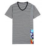 Printed Striped Spliced V-Neck T-Shirt ODM Designer for sale
