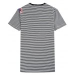 best Printed Striped Spliced V-Neck T-Shirt ODM Designer