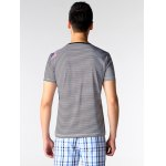 Printed Striped Spliced V-Neck T-Shirt ODM Designer deal