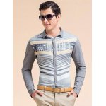 Striped 3D Print Turn-down Collar Long Sleeve Shirt ODM Designer