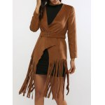 Fringed Belted Chamois Leather Trench Coat