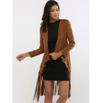 cheap Fringed Belted Faux Suede Wrap Coat