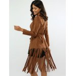 Fringed Belted Faux Suede Wrap Coat for sale