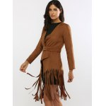 Fringed Belted Faux Suede Wrap Coat deal