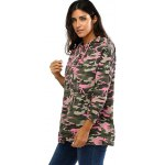 Colorful Camo Print Hooded Loose Coat for sale