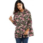 cheap Colorful Camo Print Hooded Loose Coat