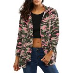 Colorful Camo Print Hooded Loose Coat