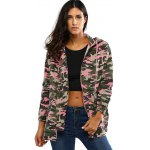 Colorful Camo Print Hooded Loose Coat deal