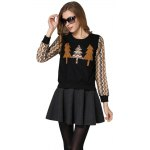 Tree Pattern Splicing Rhinestone Embellished Women's Sweatshirt photo
