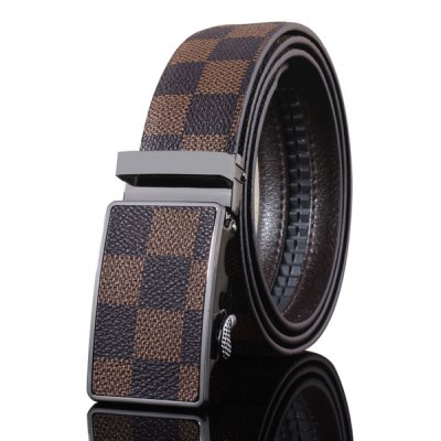 Automatic Buckle Classical Checked Pattern Coffee Color Belt For Men
