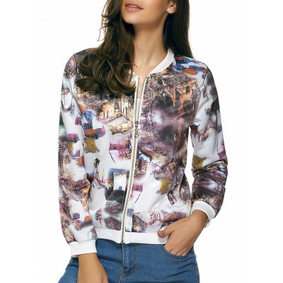 Long Sleeve Zipped Printed Jacket