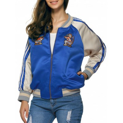 Raglan Sleeves Applique Striped Jacket