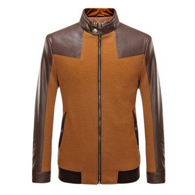 Stand Collar Leather Spliced Jacket