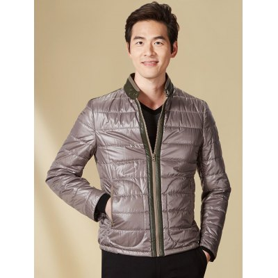 Stand Collar Color Spliced Padded Jacket