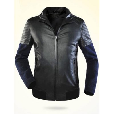 Zippered Splicing Faux Leather Hooded Jacket ODM Designer