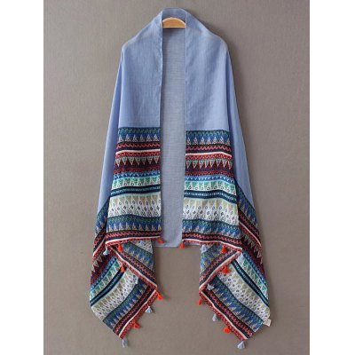Triangle Stripe Pattern Tassel Pashmina