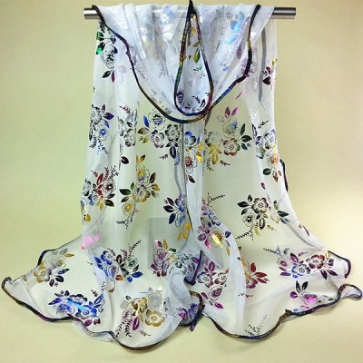 Colorful Flowers Pattern Covered Edge Soft Scarf