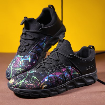 Printed Splicing Lace-Up Athletic Shoes