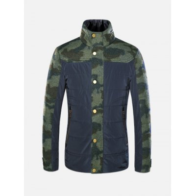 Stand Collar Camo Pattern Spliced Jacket