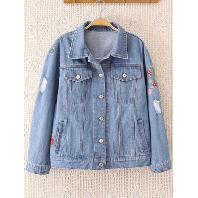 Flowers Embroidered Frayed Jean Jacket