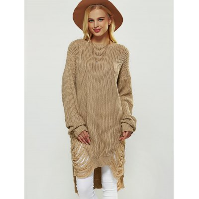 Openwork Asymmetrical SweaterSweaters &amp; Cardigans<br>Openwork Asymmetrical Sweater<br><br>Collar: Jewel Neck<br>Material: Polyester<br>Package Contents: 1 x Sweater<br>Pattern Type: Solid<br>Season: Fall, Spring, Winter<br>Sleeve Length: Full<br>Style: Fashion<br>Type: Pullovers<br>Weight: 0.405kg