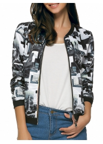 Long Sleeves Zipped Two-Tone Jacket